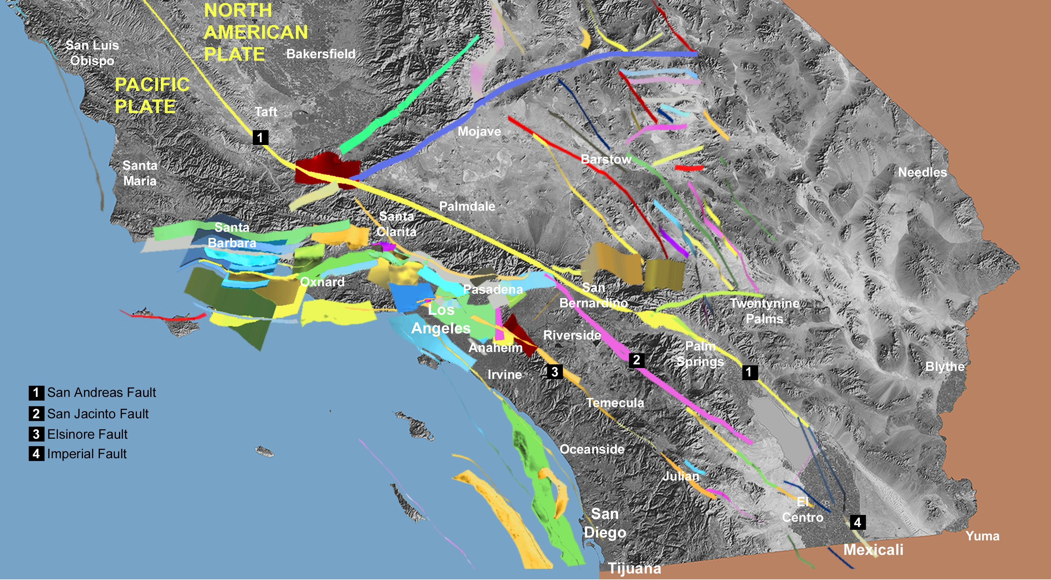 southern california fault lines google maps california map