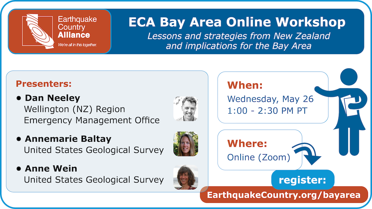 Promotional graphic for the ECA Bay Area May 26, 2021 online workshop listing speakers, time, and where to register