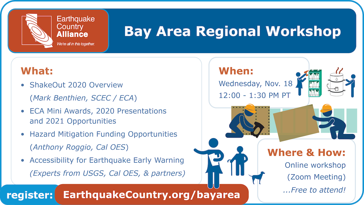 Promotional graphic for ECA Bay Area November 18 workshop, listing the speakers, topics, and date