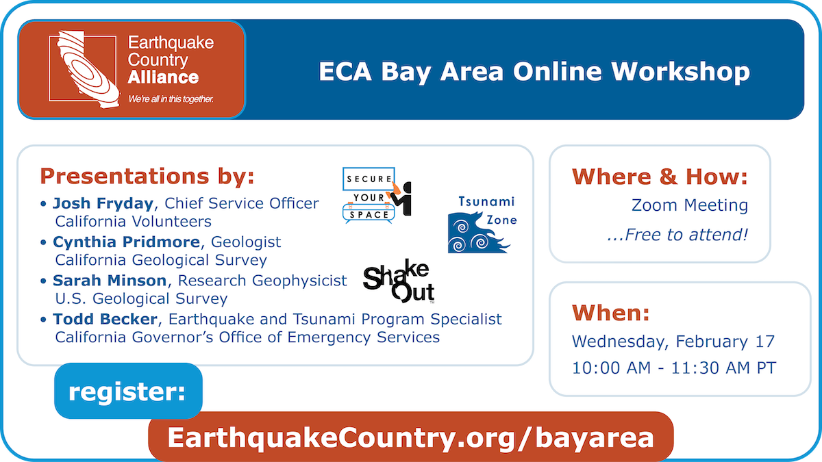 Promotional graphic for the ECA Bay Area February 17, 2021 online workshop listing speakers, time, and where to register
