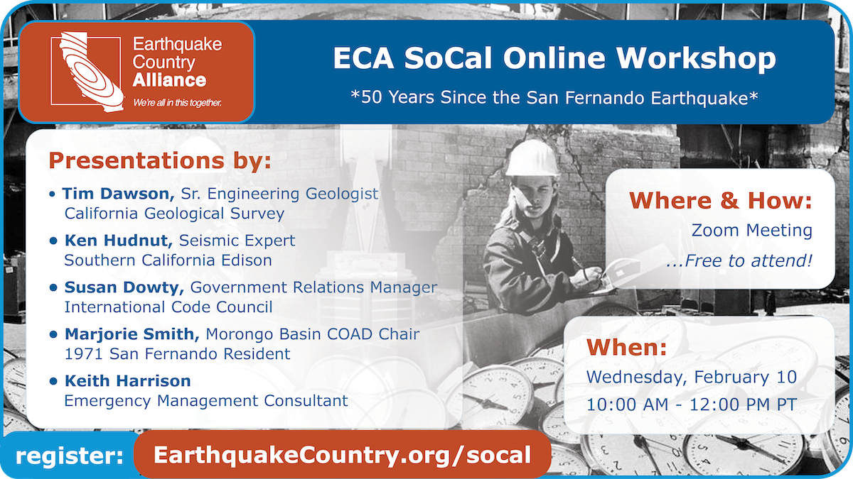 Promotional graphic for the ECA SoCal February 10, 2021 online workshop listing speakers, time, and where to register