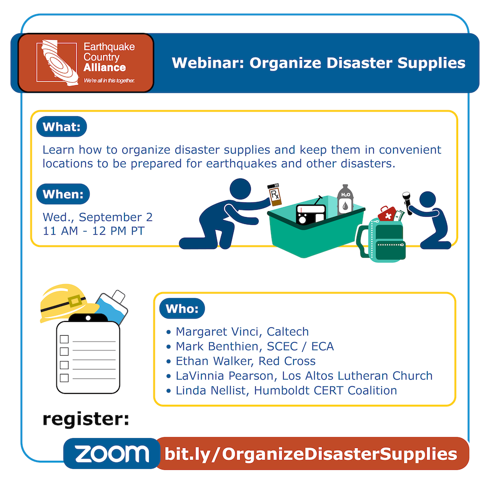 Step 3 webinar graphic showing a parent and child organizing disaster supplies, with information about the webinar