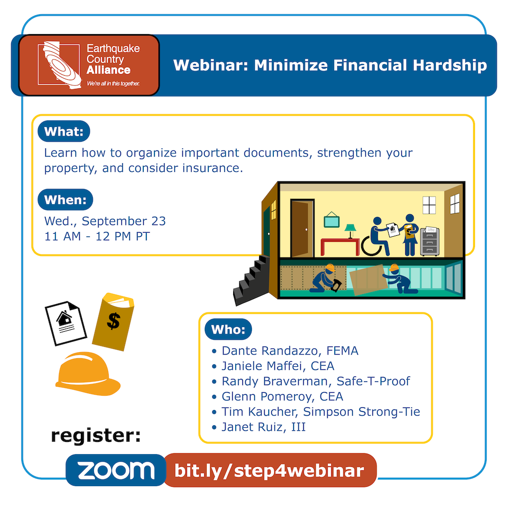 Step 4 webinar graphic showing a couple discussing their financial preparedness, while workers retrofit the foundation of their home, with information about the webinar