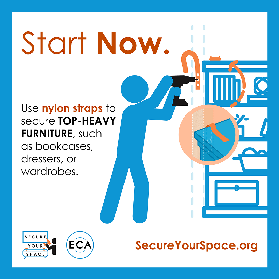 Graphic showing how to secure bookcases for earthquake shaking with nylon straps, and promoting SecureYourSpace.org.