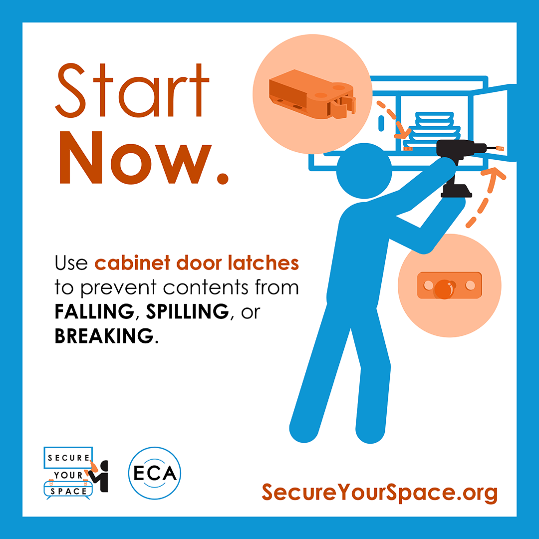 Graphic showing how to secure kitchen cabinets for earthquake shaking with cabinet door latches, and promoting SecureYourSpace.org.