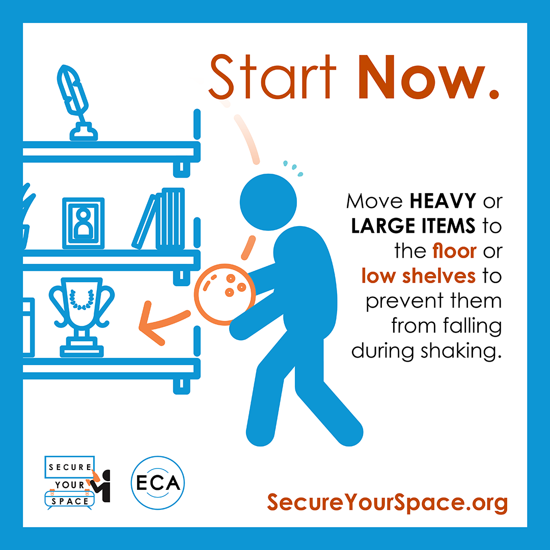Graphic showing how to secure heavy objects for earthquake shaking by moving them to lower shelves, and promoting SecureYourSpace.org.