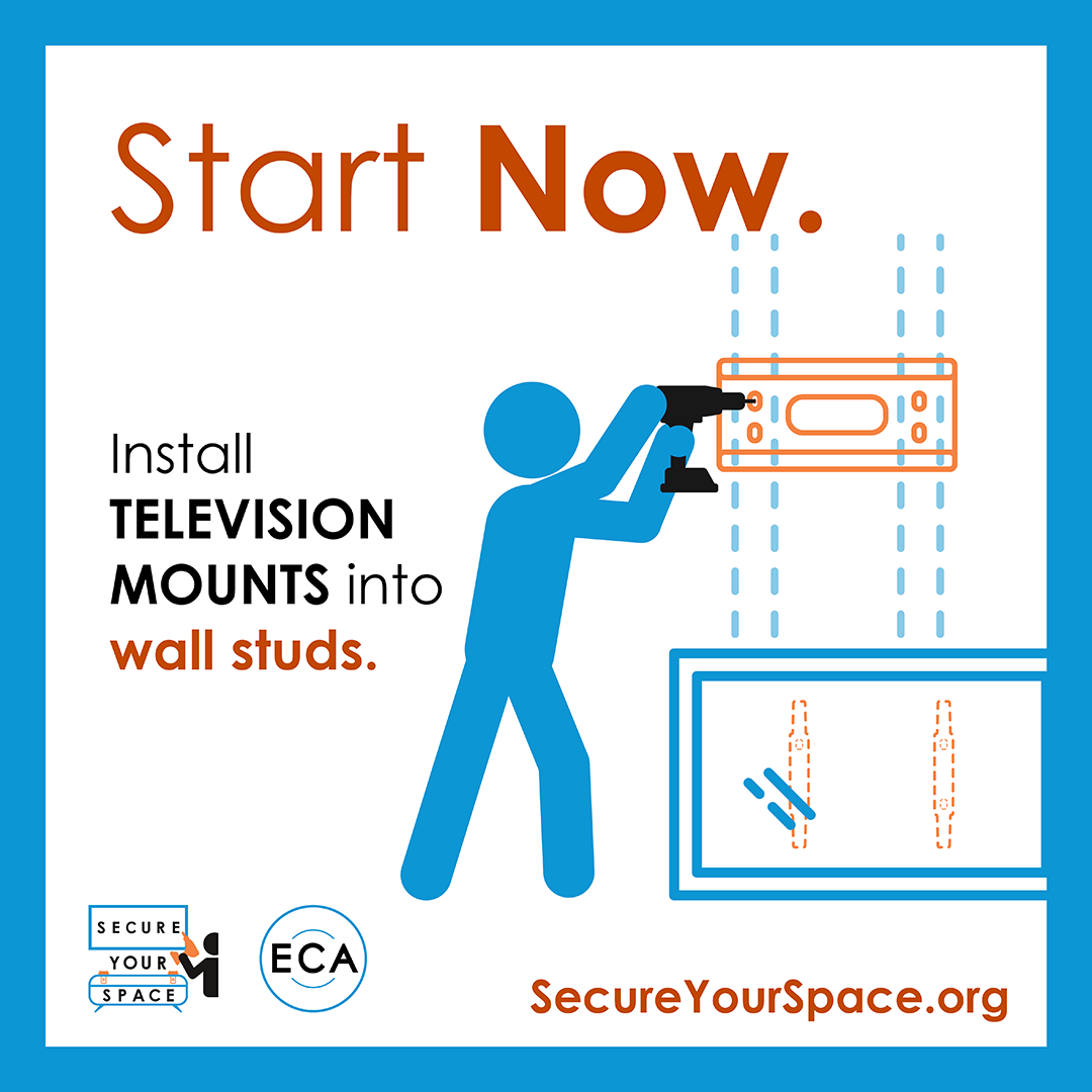 Graphic showing how to secure TV mounts for earthquake shaking by installing them into wall studs, and promoting SecureYourSpace.org.