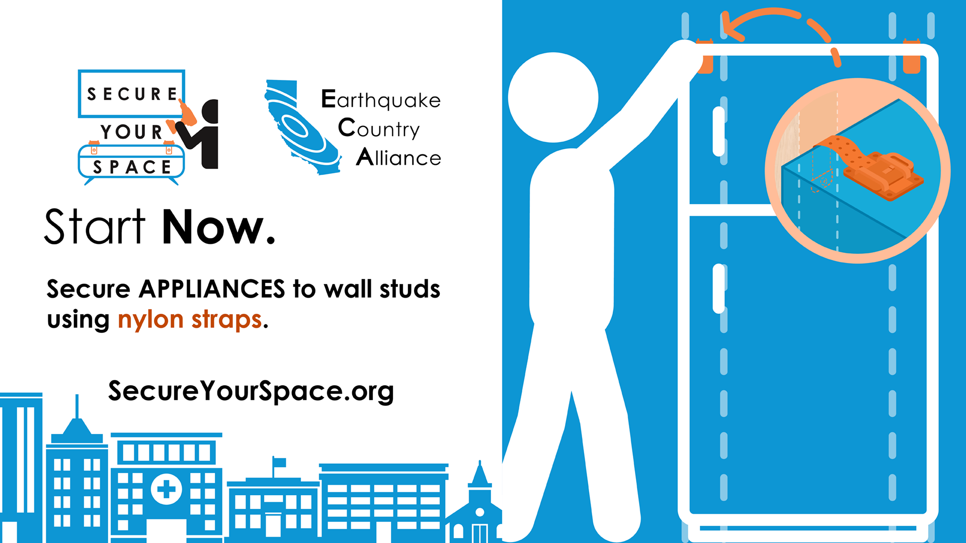 Graphic showing how to secure a refrigerator for earthquake shaking with nylon straps, and promoting SecureYourSpace.org.