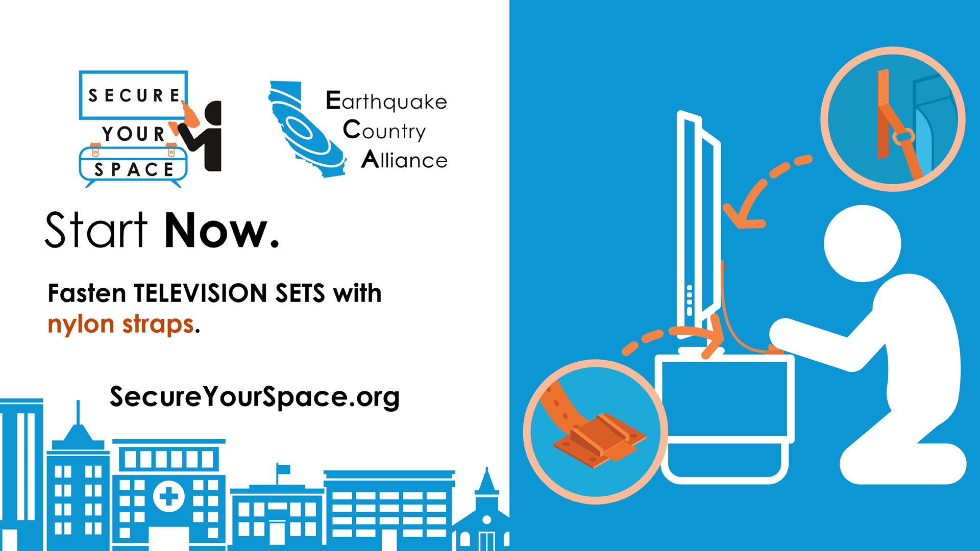 Graphic showing how to secure television sets for earthquake shaking with nylon straps, and promoting SecureYourSpace.org.