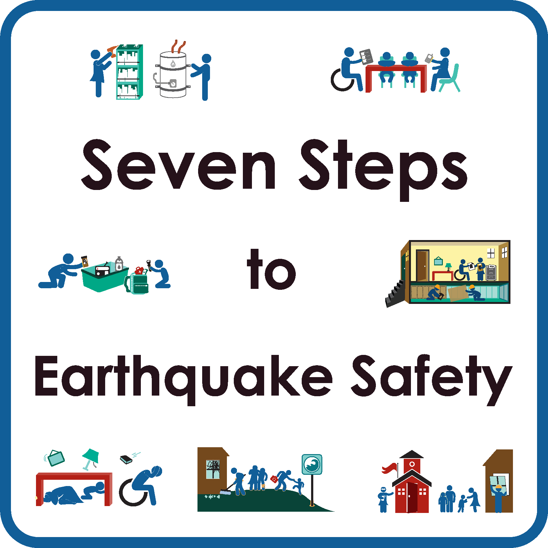 Seven Steps to Earthquake Safety title and graphics
