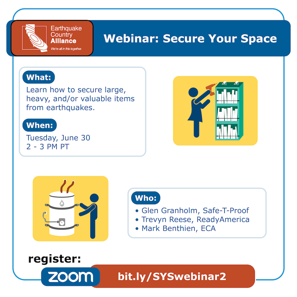 Step 1 webinar graphic showing two people securing a bookshelf and water heater, with information about the webinar