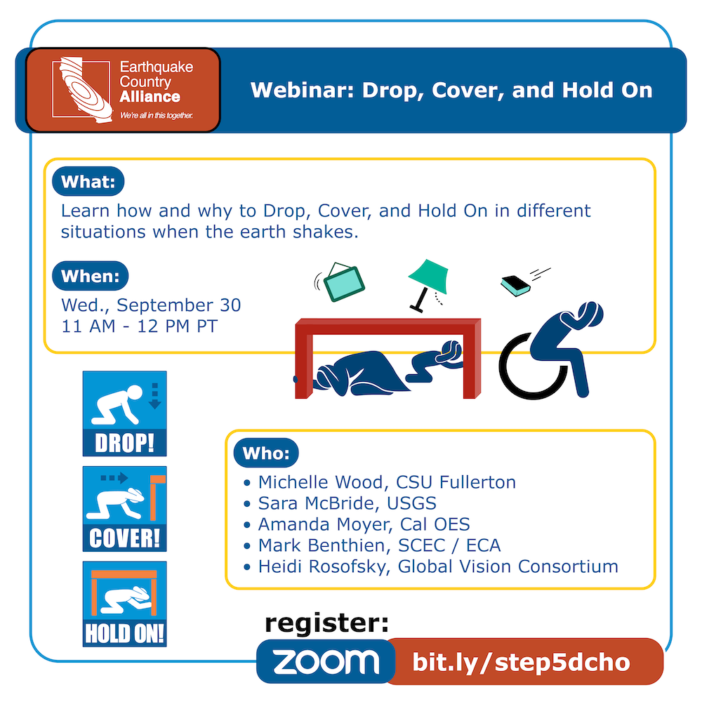 Step 5 webinar graphic with speakers, date, and time information