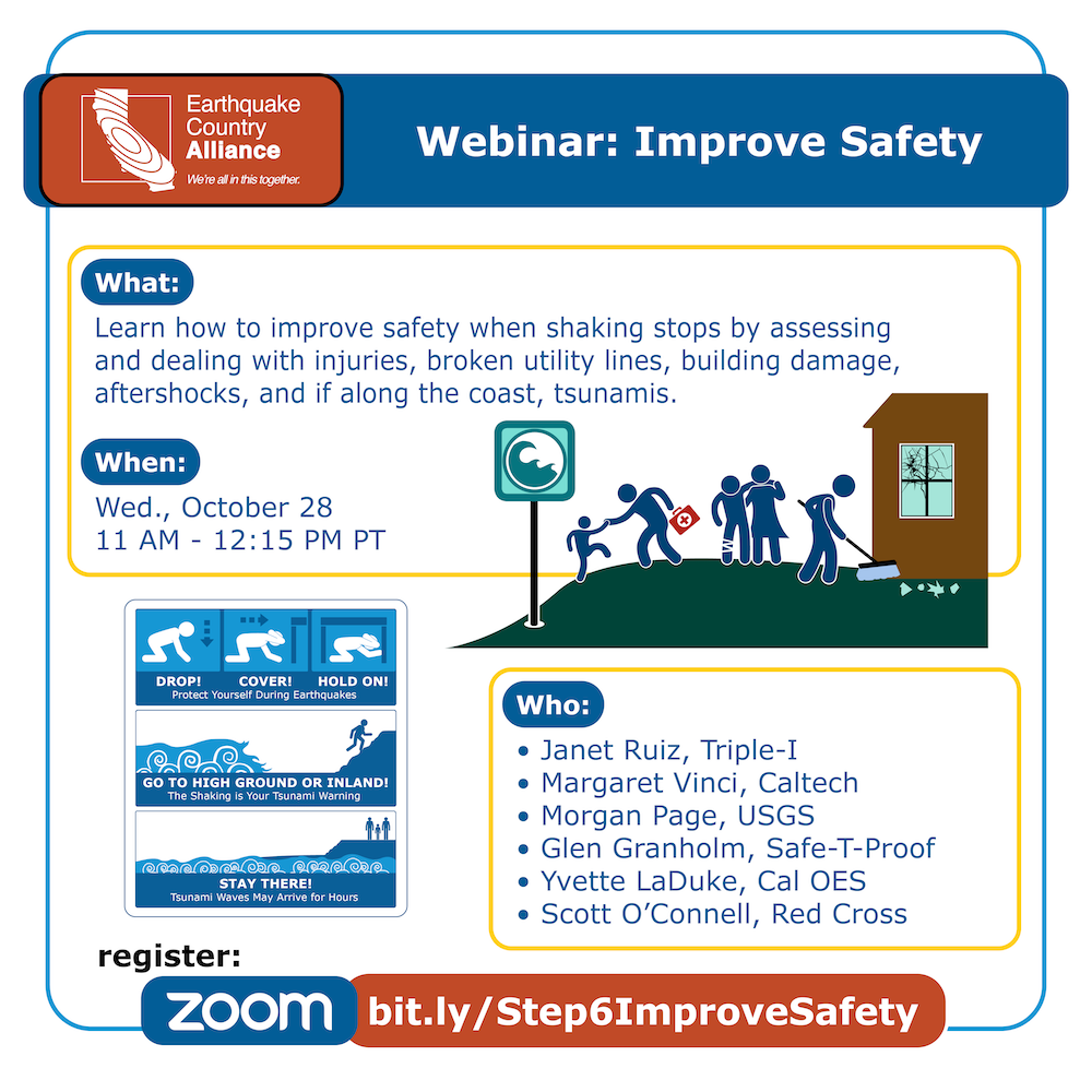 Step 6 webinar graphic showing people evacuating to high ground, cleaning up debris, and assisting the injured, along with speakers and other information for the webinar