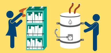 Dibujo de dos personas asegurando un librero y un calentador de agua para evitar que caigan durante un terremoto