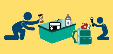 Dibujo de un padre e hijo organizando suministros para desastres en una mochila y un contenedor grande