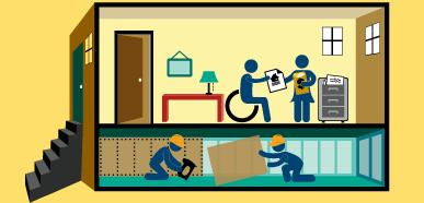 Dibujo de una pareja discutiendo su preparación financiera, mientras trabajadores modernizan los cimientos de su casa