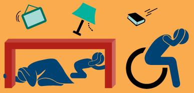 Dibujo de una familia que se protege durante un terremoto, debajo de una mesa y en una silla de ruedas