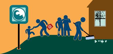 Dibujo de personas tras un terremoto limpiando escombros, ayudando a heridos y yendo a terreno alto en caso de tsunami